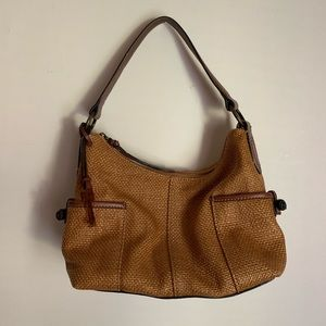 FOSSIL Woven Straw Leather Shoulder Bag